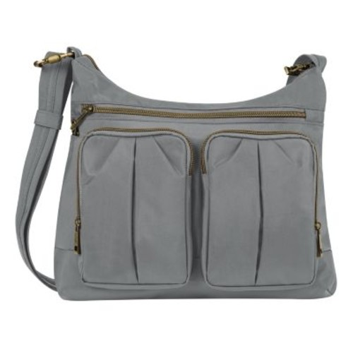 Travelon Anti-Theft Signature Twin Pocket Hobo Bag [Pewter]