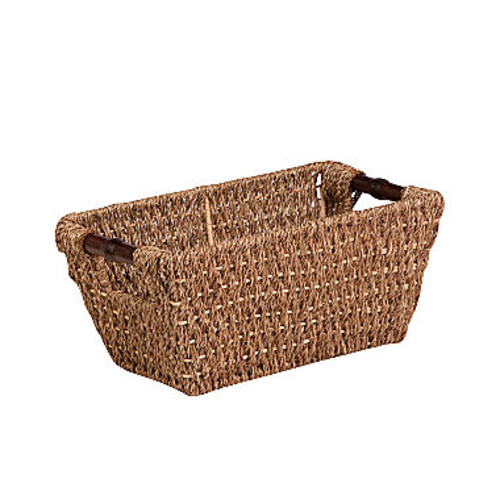 Honey Can Do Small Seagrass Basket with Handles and Iron Frame, Brown