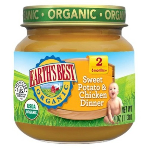 Earth's Best Organic Sweet Potato & Chicken Dinner Baby Food, 4 oz. (12 Count)