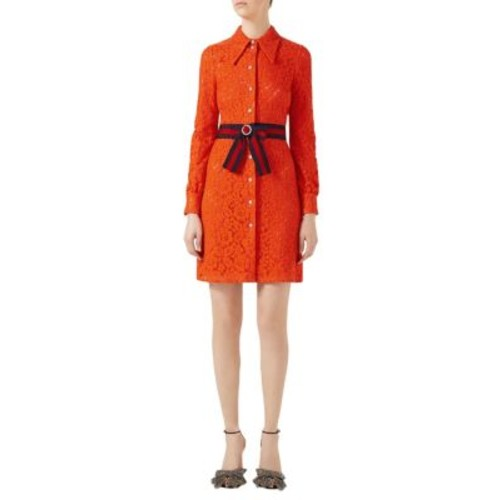 GUCCI Belted Cluny Lace Shirtdress