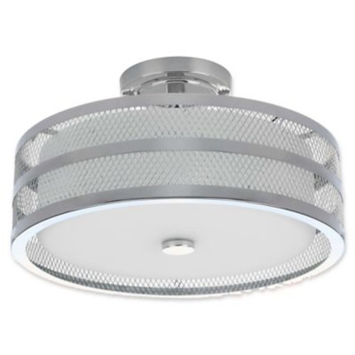 Safavieh Greta Veil 3-Light Semi-Flush Mount Ceiling Light in Chrome
