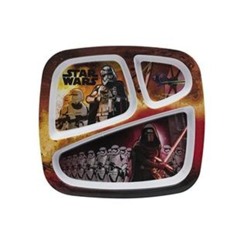 Zak! Designs 3-section Plate with Star Wars The Force Awakens Graphics, BPA-free Melamine