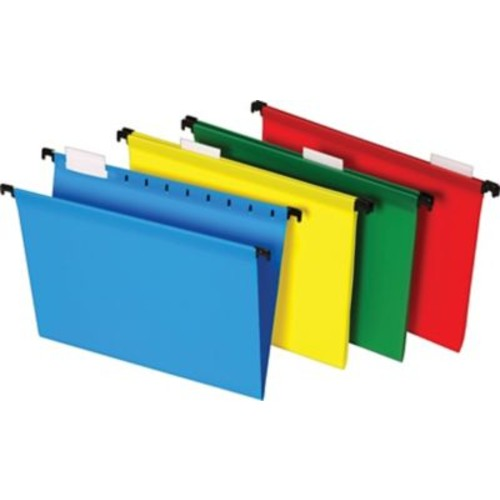 Staples Poly Hanging File Folders, 5 Tab, Letter Size, Assorted Colors, 20/Pack (13324)