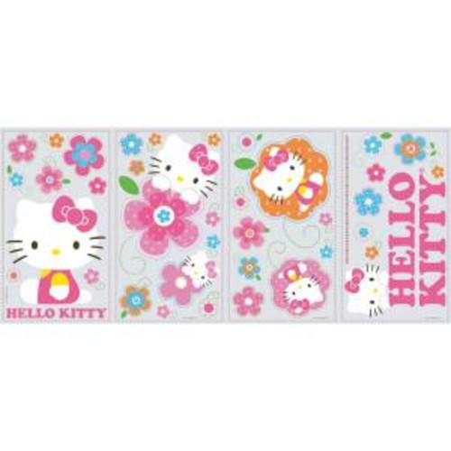 10 in. x 18 in. Hello Kitty - Floral Boutique 39-Piece Peel and Stick Wall Decals