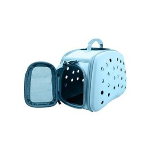 Pet Life Narrow Shelled Perforated Lightweight Collapsible Military Grade Transportable Designer Pet Carrier, Light Blue, One Size