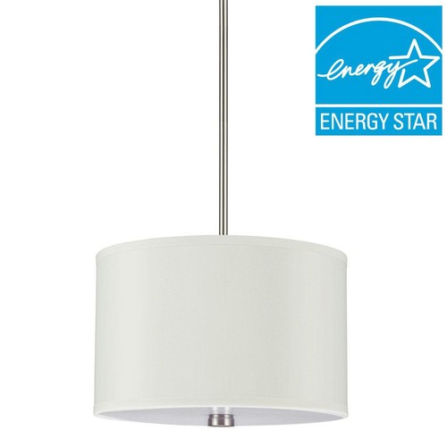 Sea Gull Lighting Dayna 2-Light Brushed Nickel Shade Pendant with LED Bulbs