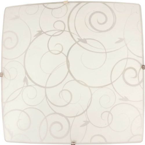 Simple Designs Square Flushmount Ceiling Light with Scroll Swirl Design