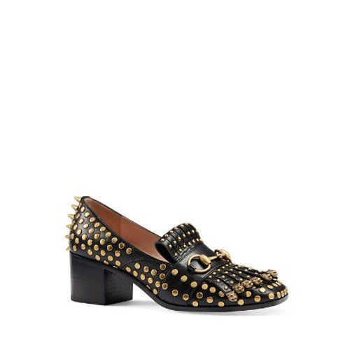 GUCCI Polly Studded Leather Mid Heel Loafers