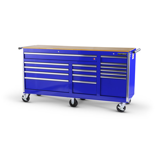 Craftsman 75 in. 15-Drawer Storage Cabinet with Hard Wood Top and Ball Bearing Slides, Blue