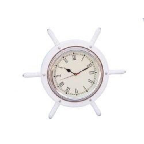 Handcrafted Nautical Decor 15'' Wooden Ship Wheel Wall Clock; White