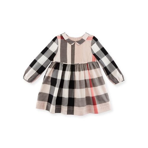 BURBERRY Liz Long-Sleeve Check Dress, Size 2