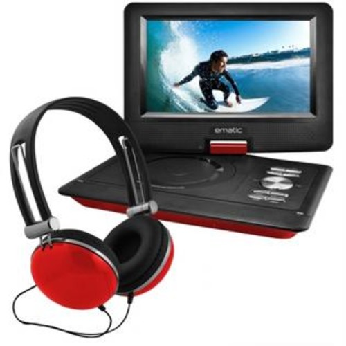 Ematic EPD116RD 10 in. Port DVD Headphone Bundle, Red