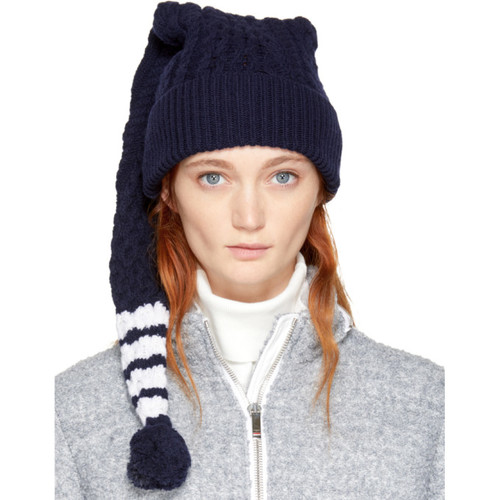 THOM BROWNE Navy Aran Four Bar Long Stocking Beanie