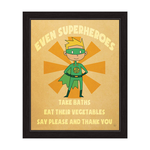 'Even Superheroes' Boys' Graphic Wall Art Print With Black Frame