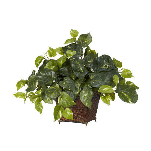 Nearly Natural Pothos With Coiled Rope Planter Silk Plant Green