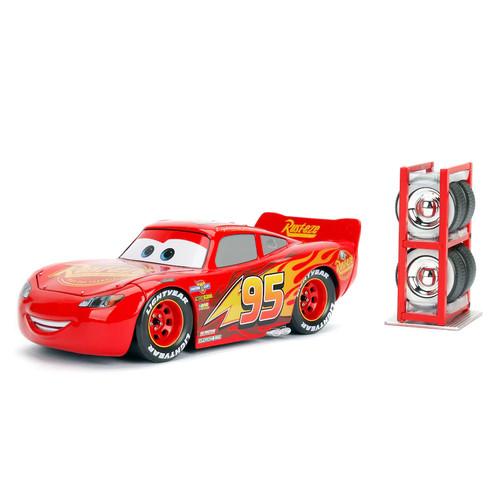 Disney/Pixar Cars 1:24 Lightning McQueen Die Cast w/Tire Rack by Jada Toys