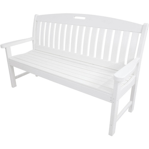 Hanover Outdoor Avalon White 60-inch All-weather Porch Bench