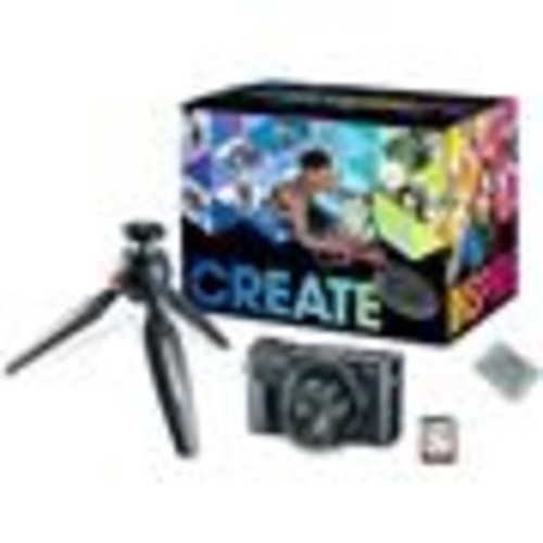 Canon PowerShot G7 X Mark II Video Creator Kit 20.1-megapixel digital camera with mini tripod, spare battery, and 32GB memory card