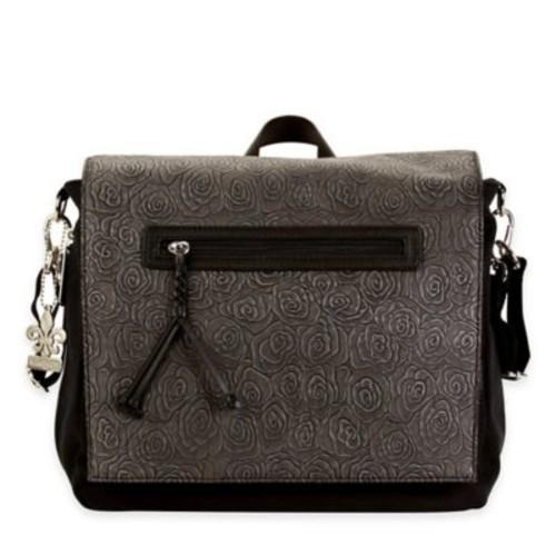Kalencom Toyko Diaper Bag Rosebud Print in Black