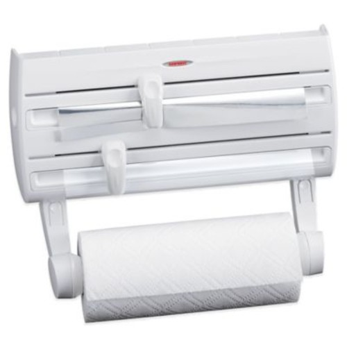Leifheit Wall Mount Paper Towel Holder with Plastic Wrap, Foil Dispenser and Spice Rack