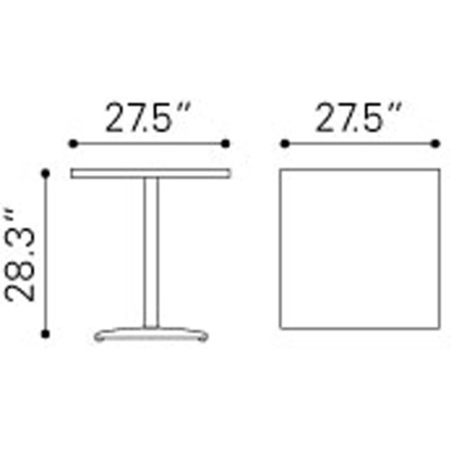 Zuo Outdoor Coffee & Side Tables Cafe Square Table
