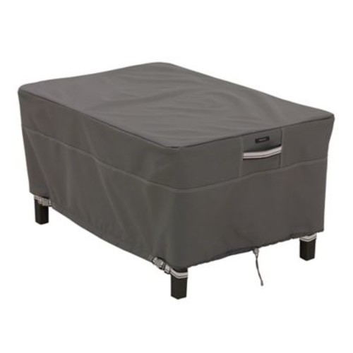 Classic Accessories Ravenna Patio Rectangle Ottoman Cover, Dark Taupe, Large