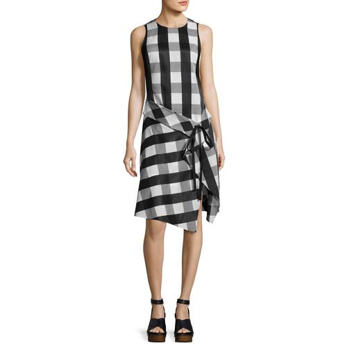 RAG & BONE Brighton Plaid Tank Midi Dress, Black/White