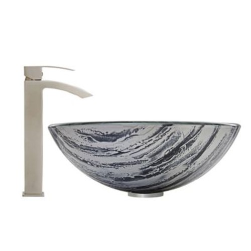 Vigo Rising Moon Vessel Sink and Duris Faucet Set in Brushed Nickel
