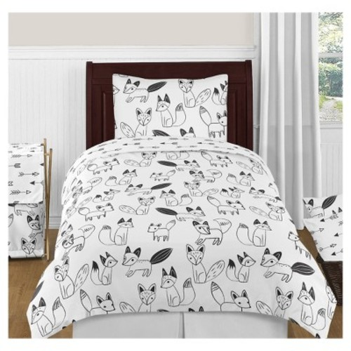 Black and White Fox and Arrow Boys or Girls 4 Piece Kids Childrens Twin Bedding Set