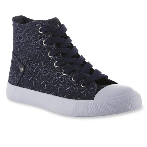 Roebuck & Co. Women's Hannah Blue/Floral High-Top Sneaker [Width : Medium]