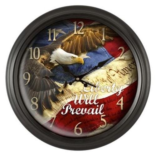 Reflective Art ''Liberty Will Prevail'' Wall Clock