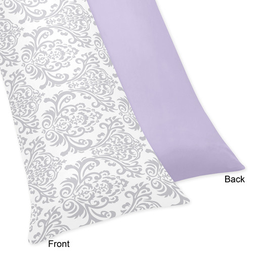 Sweet Jojo Designs Lavender and Gray Elizabeth Collection Body Pillow Case