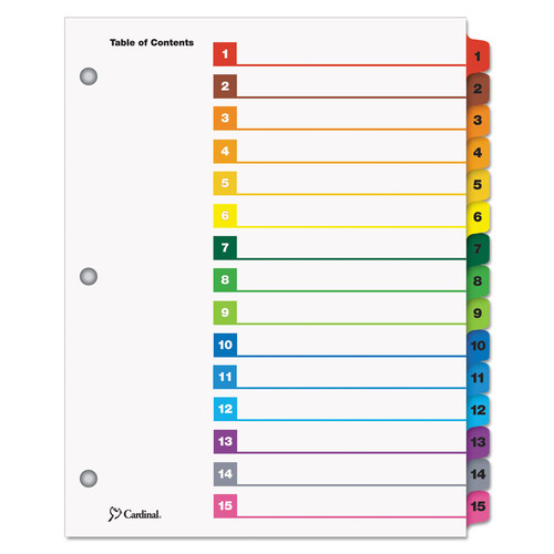 Cardinal Supplies CRD61518 Traditional OneStep Index System, 15-Tab, 1-15, Letter, Multicolor, 15/Set