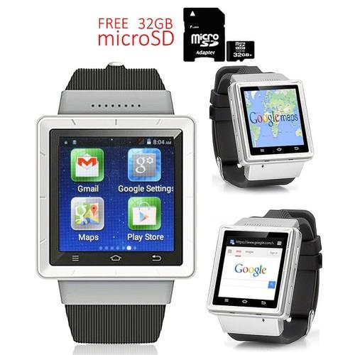 Indigi Android 4.4 KK (Factory Unlocked) 3G Smartwatch & Phone + WiFi + Google Maps + Camera w/ 32gb microSD Included - Silver