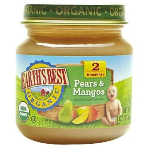 Earth's Best Organic Pears & Mangos Baby Food, 4 oz. (12 Count)