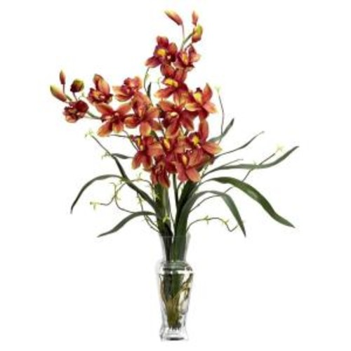 Cymbidium Silk Flower Arrangement, Burgundy