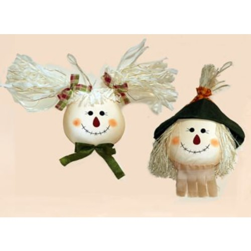 Worth Imports 2 Piece Decorative Hanging Boy And Girl Scarecrow Garden Stake Set