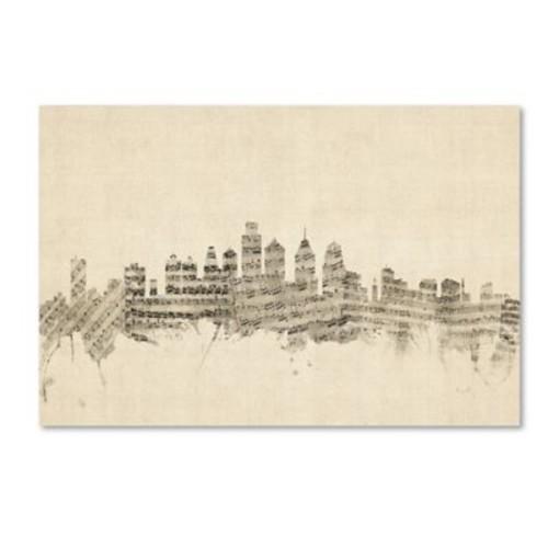 Trademark Fine Art ''Philadelphia Skyline Sheet Music'' by Michael Tompsett 22