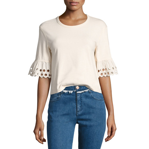 SEE BY CHLOE Crewneck Short-Sleeve Cotton Top, Off White