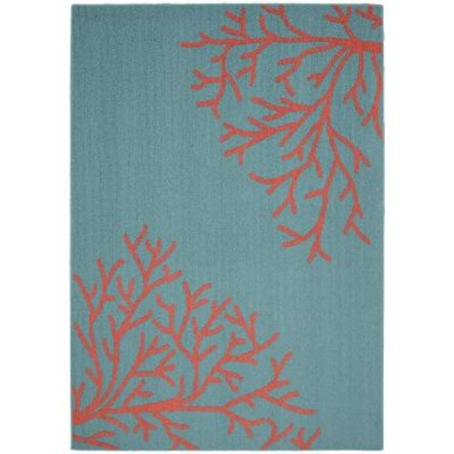 Garland Rug Sea Coral Teal/Santa Fe Coral 5 ft. x 7 ft. Area Rug