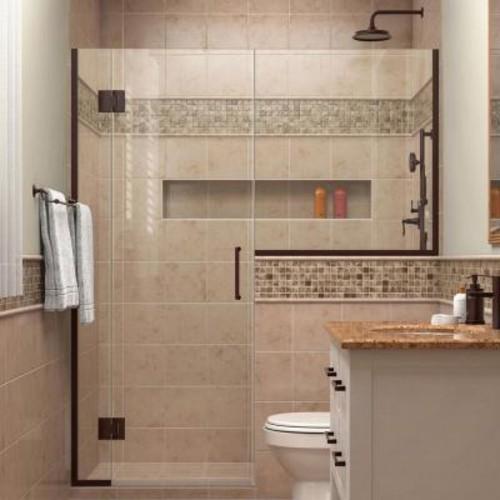 DreamLine Unidoor-X 59 in. to 59-1/2 in. x 72 in. Frameless Hinged Shower Door in Oil Rubbed Bronze with Buttress Panel