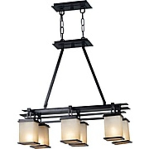 Kenroy Home Plateau 6-Light Oil Rubbed Bronze Island Light with Amber Glass Shade