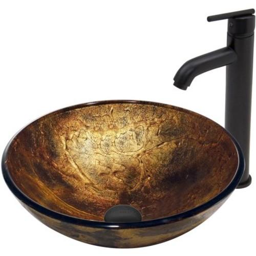 VIGO Copper Shapes Glass Vessel Sink and Seville Faucet Set in Matte Black Finish