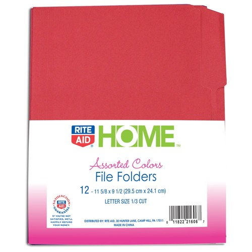 Rite Aid Colored File Folder 12Ct, Assorted Colors