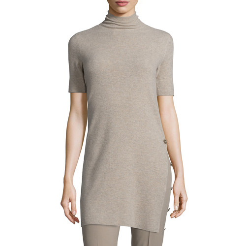 RALPH LAUREN COLLECTION Short-Sleeve Side-Button Sweater, Taupe