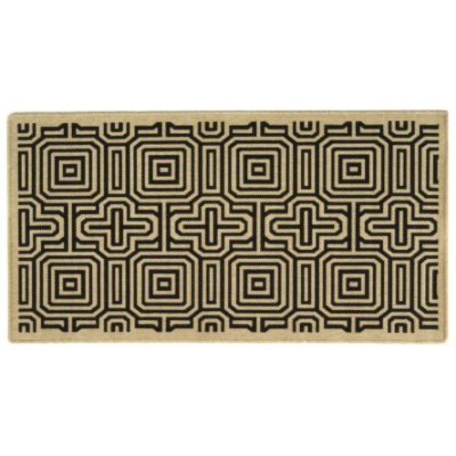 Safavieh Courtyard Sand/Black 9 ft. x 12 ft. Indoor/Outdoor Area Rug