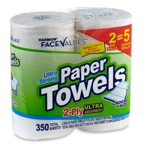 Harmon Face Values 2-Count Big Rolls Ultra Strong 2-Ply Paper Towels in Choose-A-Size