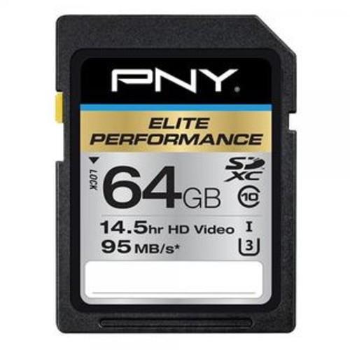 PNY Elite Performance 64 GB High Speed SDXC Class 10 UHS-I, U3 up to 95 MB/Sec Flash Card (P-SDX64U395-GE)