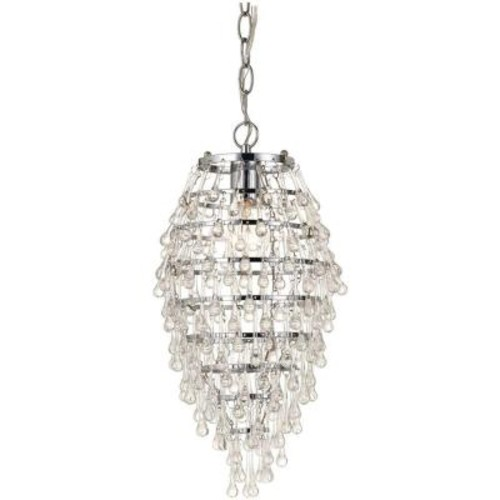 AF Lighting Crystal Teardrop 1-Light Chrome Mini Chandelier with Clear Drop Glass Accents