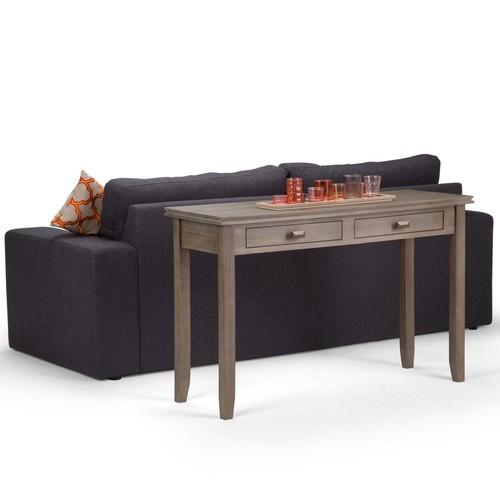 Simpli Home Artisan Distressed Grey Storage Console Table